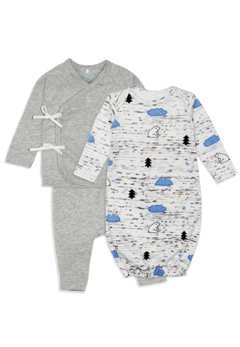 Baby 9months grey and blue Newborn Baby Grey Wrap Pyjamas & Blue Sleeping Gown Set F82EBKA5AD731BGS_1