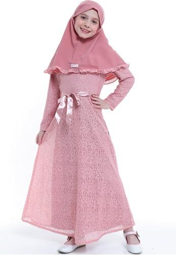 EXIT GIRL pink Rannaya Brokat Dress Set Hijab 5447CKA924C1F4GS_1