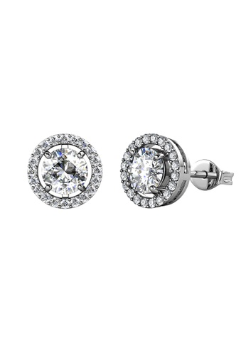 Her Jewellery silver CELÈSTA Moissanite Diamond - Fantaisie Earrings (925 Silver with 18K White Gold Plating) by Her Jewellery 9F61BACC1ED310GS_1