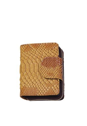 Twenty Eight Shoes yellow VANSA Serpentine Pattern Embossed Cow Leather Bi-Fold Wallet VBW-Wt60303 B4EEEACDDD90AFGS_1