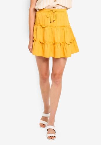 Cotton On 金色 層次褶飾短裙 3BC17AA6ADE7BEGS_1