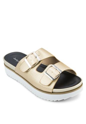 雙扣環帶zalora退貨厚底拖鞋, 女鞋, 鞋