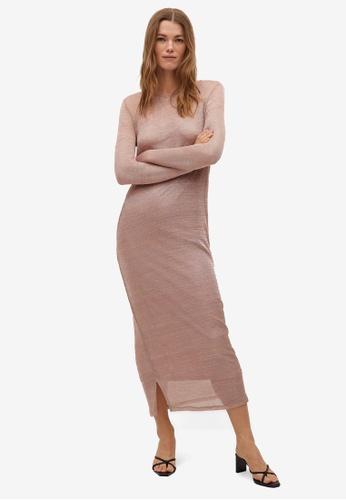 Mango pink Metallic Knit Dress 63F61AAD48F55EGS_1
