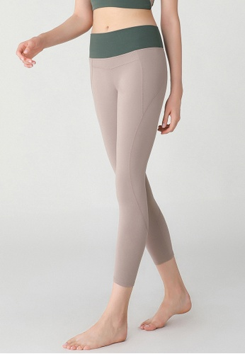 HAKA ACTIVE 米褐色 彈力緊身高腰塑性運動七分褲 EABA8AA49364EAGS_1