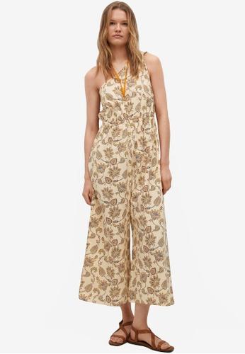 Mango beige Cotton Print Jumpsuit B8E39AAFC39C56GS_1