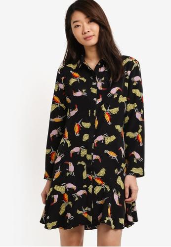 ZALORA black and multi Long Sleeves Bottom Pleats Dress 7E71DAAA559A5AGS_1