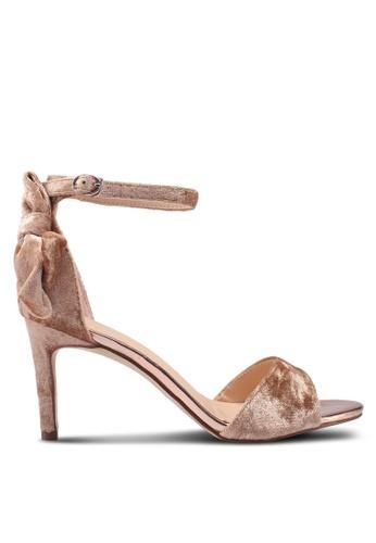 Something Borrowed beige Velvet Sandal Heels 93F72SH24590FFGS_1