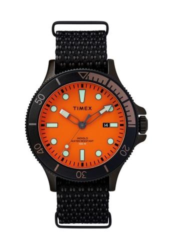Timex black and orange Timex Allied Coastline 43mm - Black Case & Fabric Strap (TW2T30200) EF7D9ACD5B2097GS_1
