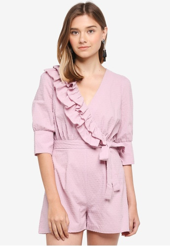 LOST INK pink Dobby Frill Wrap Playsuit 36E0CAAEB19FE3GS_1