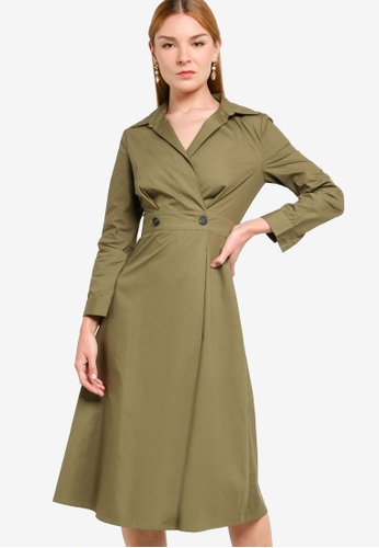 ZALORA WORK green Button Detail Long Sleeves Midi Dress 58064AA161F1CFGS_1