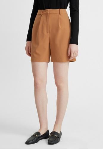 Pomelo brown High Waist Bermuda Shorts - Brown F6E4EAAE8ED3F2GS_1