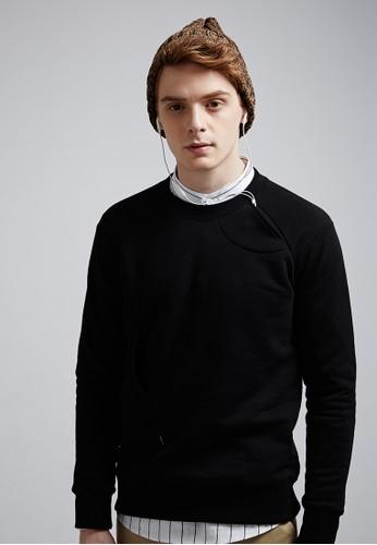搖滾萬esprit手錶專櫃歲。耳機袋設計。圓領接袖上衣-MIT-03733-黑色, 服飾, 長袖T恤