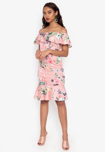 b163e53ff093 Ashley Collection pink Floral Off Shoulder Ruffle Hem Dress  942FBAA930112EGS 1