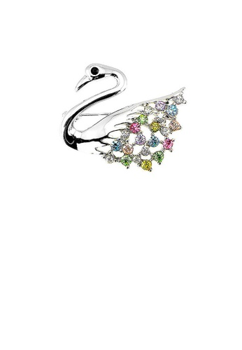 Glamorousky multi Elegant Swan Brooch with Multi-color Austrian Element Crystals 09433AC138A9FBGS_1