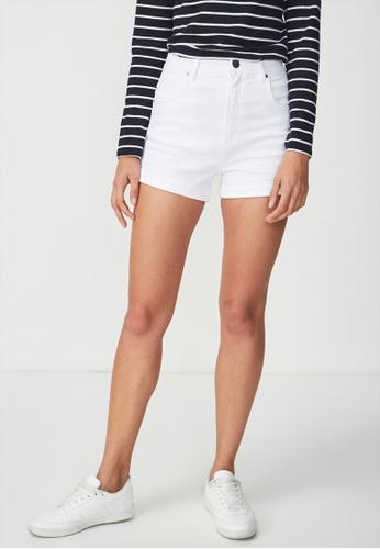 Cotton On white High Rise Classic Stretch Denim Short B9910AACCA0981GS_1