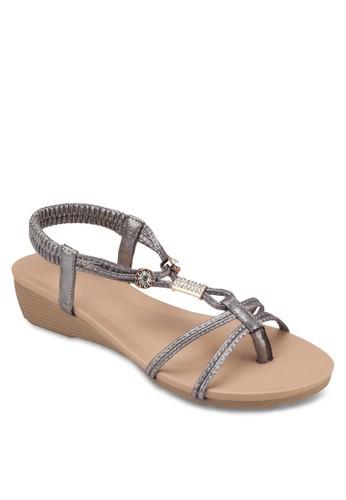金飾彈性繞踝楔型esprit 面試跟涼鞋, 女鞋, 涼鞋