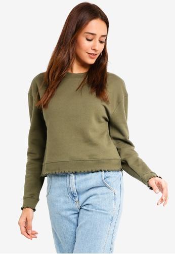 Miss Selfridge green Lettuce Hem Sweatshirt 244C9AA4E586C7GS_1