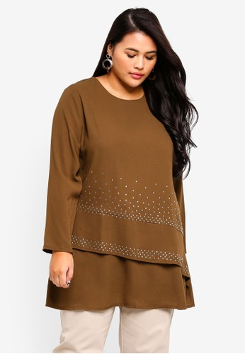 BYN brown Plus Size Muslimah Blouse 476E9AA912E67DGS_1