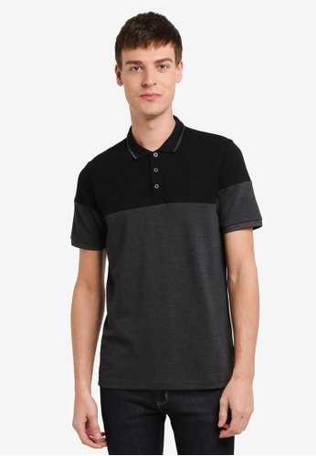 Burton Menswear London black Black Cut And Sew Polo Shirt BU964AA0SD2KMY_1
