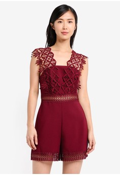 Geo Lace Strap Playsuit