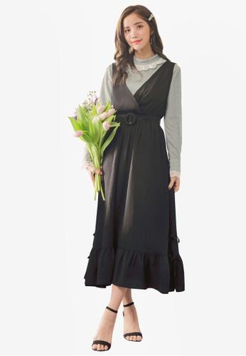 Yoco black Ruffle Hem Belt Detail Dress 676FAAAFC645F9GS_1
