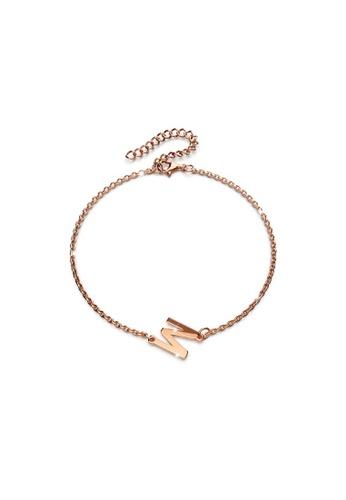 Bullion Gold gold BULLION GOLD Bold Alphabet Letter Initial Charm Bracelet in Rose Gold Tone - M EB6FDAC783586FGS_1