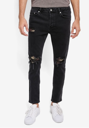 Topman black Black Camouflage Patched Skinny Jeans TO413AA0SR8WMY_1