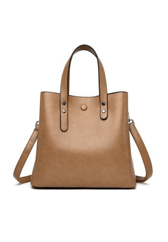 Lara beige Women's Elegant Magnetic Buckle Water-proof Wear-resistant Leather Handbag Shoulder Bag - Khaki 38C34AC65AA602GS_1