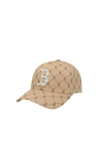 MLB beige DIAMOND MONOGRAM CURVED ADJ CAP BOSTON RED SOX 8B666AC0C387F1GS_1