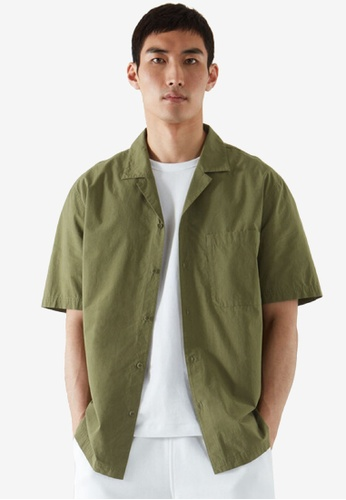 COS green Relaxed-Fit Camp Collar Shirt E5F5FAA63F1847GS_1