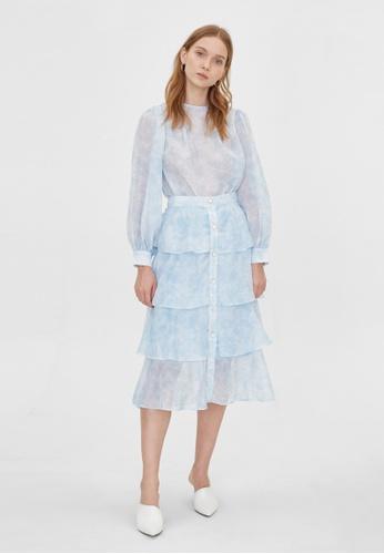 Pomelo blue Ruffle Layered Flare Skirt - Blue 4F6D9AAF9BB071GS_1