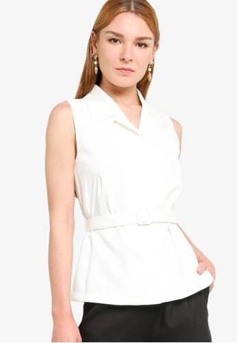 ZALORA WORK white Self Fabric Waistcoat EBB58AA153E912GS_1