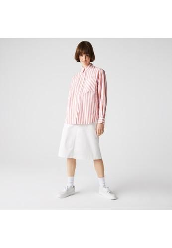 Lacoste pink Women's Oversized Striped Cotton Poplin Shirt BD3B9AA7341726GS_1
