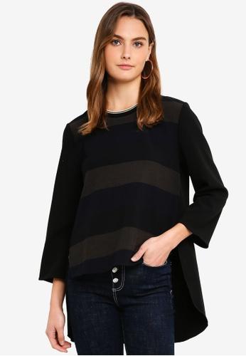 United Colors of Benetton black Striped Slit Hem Blouse 55910AA54EB98CGS_1