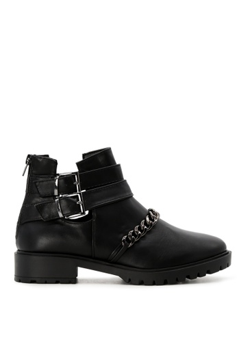 RAG&CO black Black Cutout Boots with Strap and Metallic Chain RCSH1742 2C359SH21ADEFAGS_1