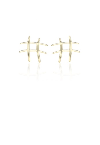 Glamorousky silver 925 Sterling Silver Plated Gold Simple Temperament Geometric Stud Earrings A273AACEC5146EGS_1