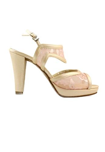 SHINE beige Strap Floral Lace Platforms 55DE0SH3014D18GS_1
