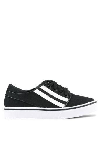 Something Borrowed black Stripe Sneakers 686B1SHAF9CBCFGS_1