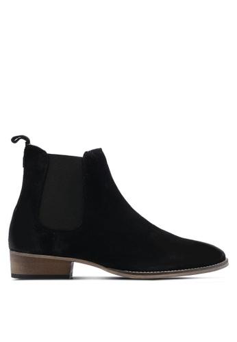 Topman black Black Suede Chelsea Boots TO413SH12FTRMY_1