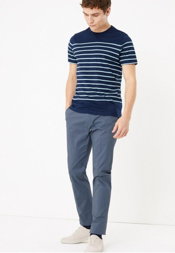 MARKS & SPENCER blue M&S COLLECTION Slim Fit Smart Stretch Chinos 0D667AA849F47EGS_1