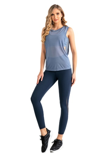 B-Code blue ZUU3044-Lady Quick Drying Running Fitness Yoga Sports Bra, Top and Leggings Three Pieces Set -Blue 1728EAA8F0D93EGS_1
