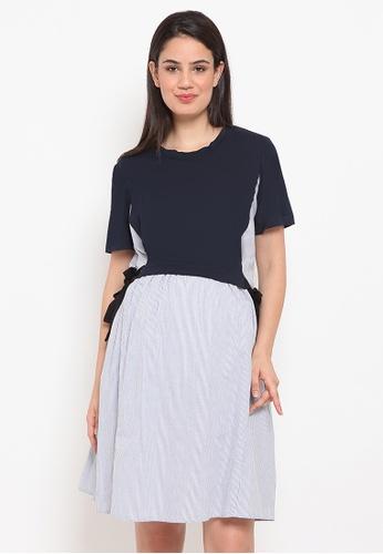 Chantilly navy 2-in-1 Dress Cotton T-Shirt Mix W / Slimming Effect D804AAAFE4B4BDGS_1