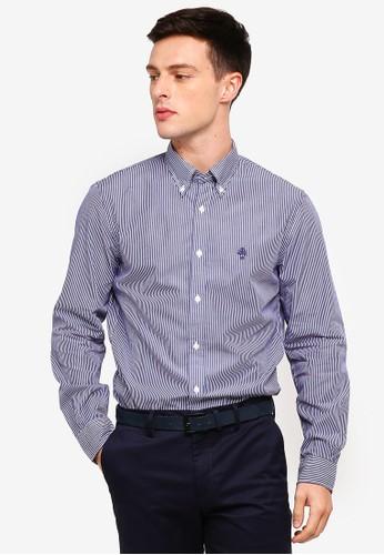 Brooks Brothers navy Red Fleece Yarn-Dyed Stripe Cotton Poplin Sport Shirt 5A71AAA11ED504GS_1