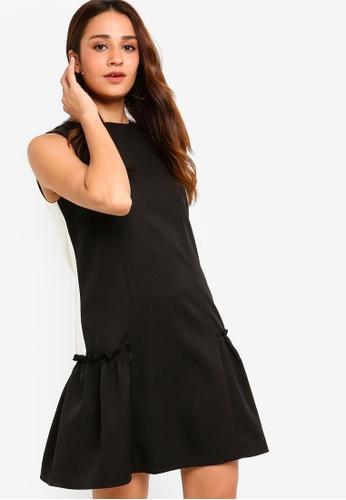 e05b18b4af4 ZALORA black and multi Drop Waist Ruffle Hem Dress 2B0BAAA91F6793GS 1