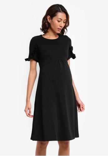 Dorothy Perkins black Maternity Ruffle Sleeve Empire Skater Dress AACAEAABA6A35DGS_1