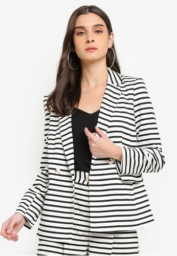 ca2dea896f9d16 Buy Miss Selfridge White Stripe Ribbed Notch Blazer Online on ZALORA ...