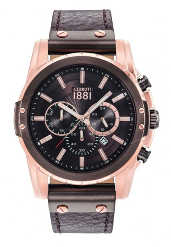CERRUTI 1881 brown Mantore Chronograph Brown Leather Strap Men Watch CE514AC53QNYMY_1