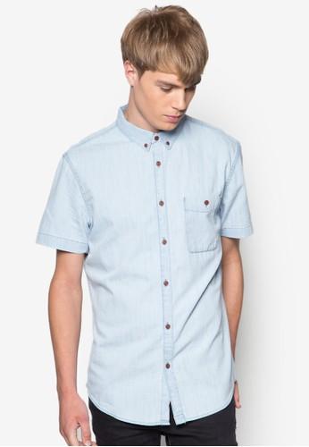 esprit outlet 香港漂白短袖丹寧襯衫, 服飾, 襯衫