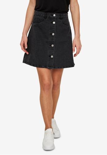 Noisy May black Sunny Short Denim Skater Skirt 3F584AA1F74E8AGS_1