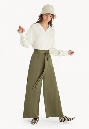 6ffe6538cbc Pomelo green Tie Waist Wide Leg Pants - Green ACF02AAFEB6468GS 1